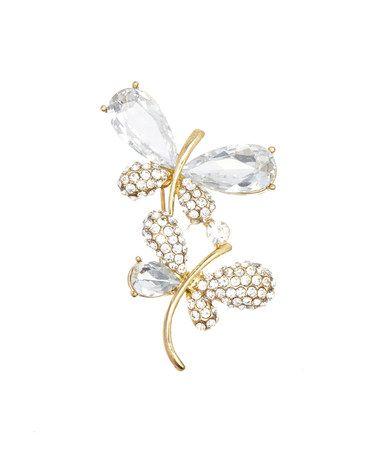 Look what I found on #zulily! Czech Crystal & Goldtone Twin Dragonflies Brooch #zulilyfinds