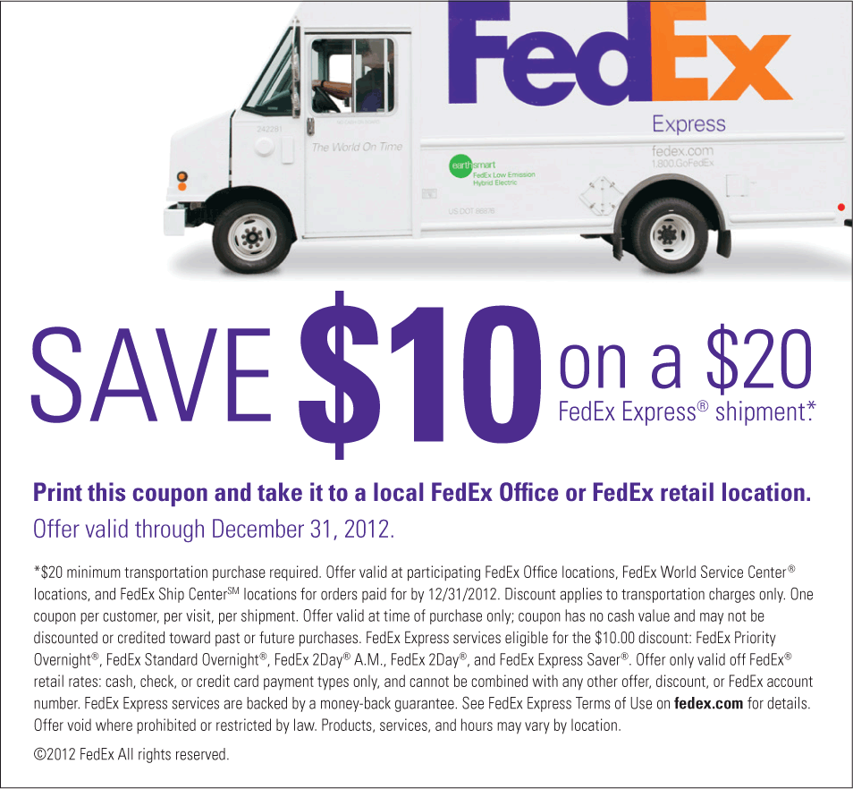 10 Off 20 On Your Fedex Shipment Coupon Via The Coupons App Printable Coupons Coupons Fedex Express