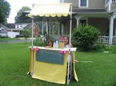 Lemonade stand with awning made from PVC pipe