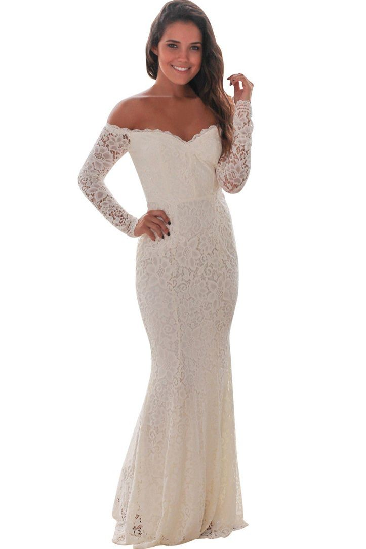 3a26f453f7 Off Shoulder Hollow Lace Overlay Sexy Maxi Mermaid Bodycon Party ...