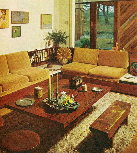 Home Decor Eclectic Bohemian 50s Style Living Room Brown Yellow Colour Scheme
