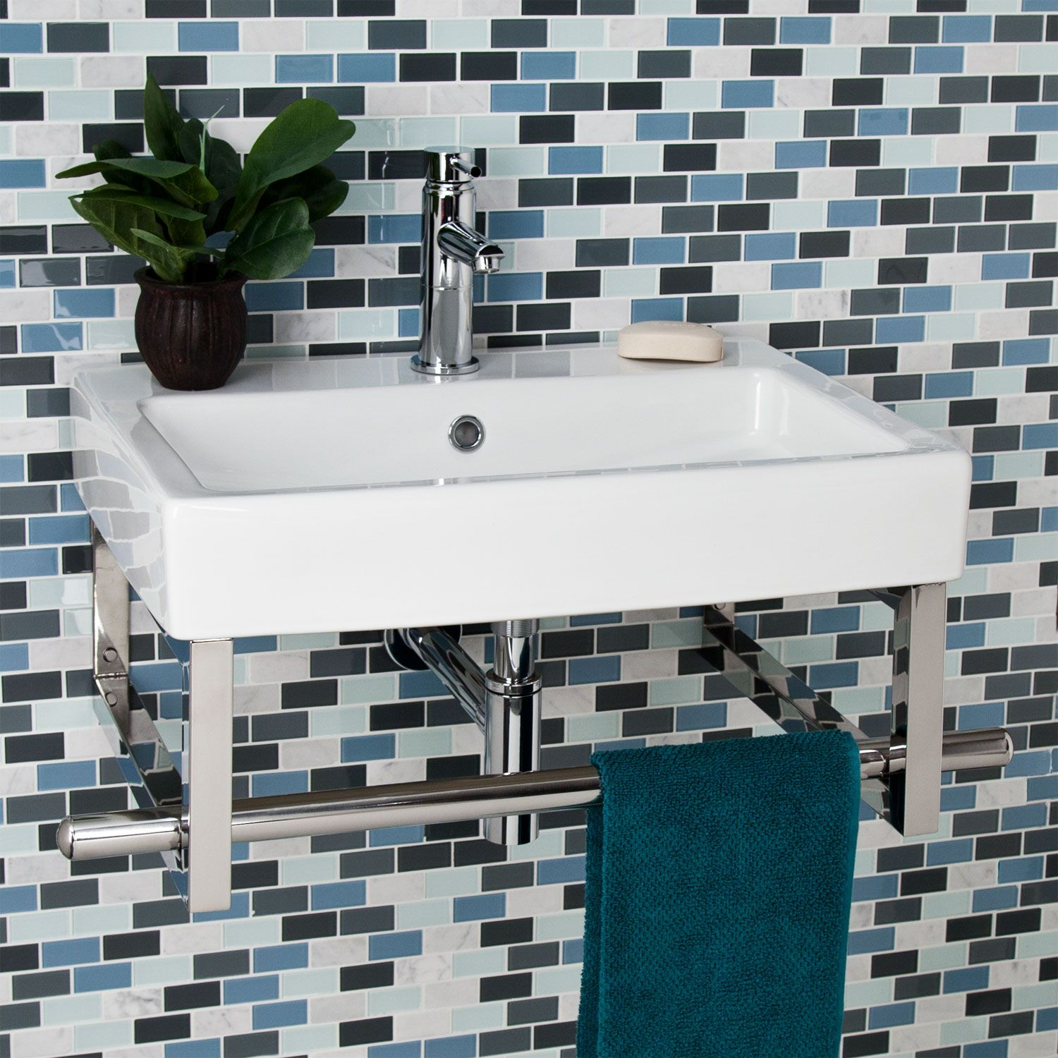 Small wall mount sink with towel bar for bathroom - Rixton Slimline Wall Mount Sink With Towel Bar Small Sinksmall Bathroombathroom