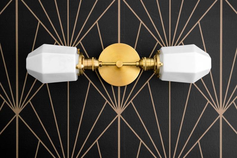 Photo of Parabolische Waschtischleuchte – Badezimmerleuchte – Opallampe – Geometrische Leuchte – Messingspiegelleuchte – Art-Deco-Badleuchte – Modell Nr. 6679