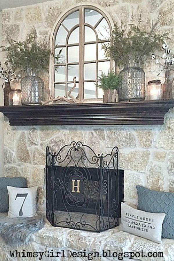 Fireplace Mantel driftwood fireplace mantel : A few key pieces, like the glass jars and driftwood decor from ...
