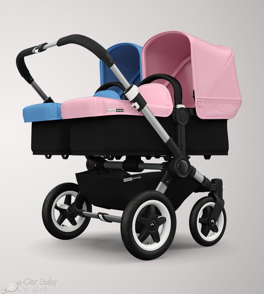 Bugaboo Donkey Twin Soft Pink Fabric Set W Ice Blue Fabric Set Bugaboo Donkey Baby Strollers Bugaboo Donkey Twin