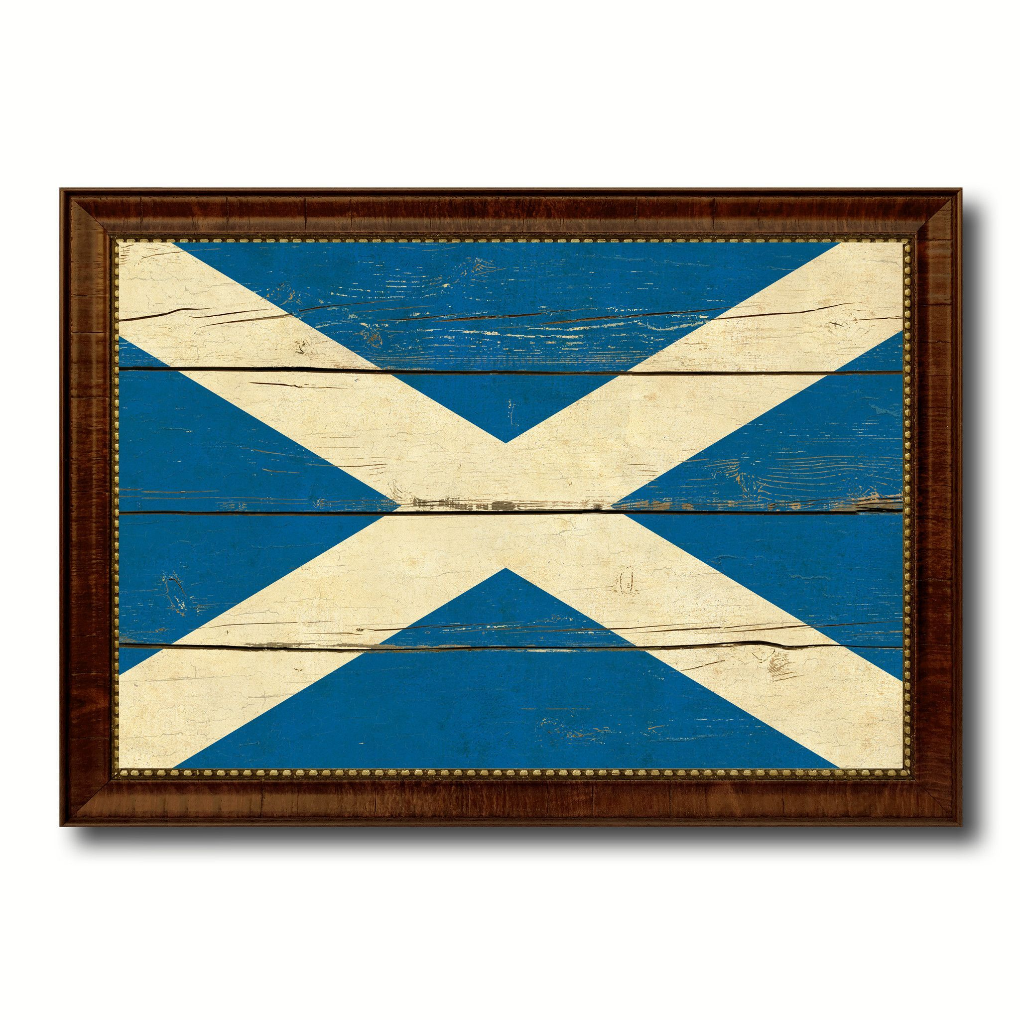 Scotland Country Flag Vintage Canvas Print with Brown Picture Frame ...