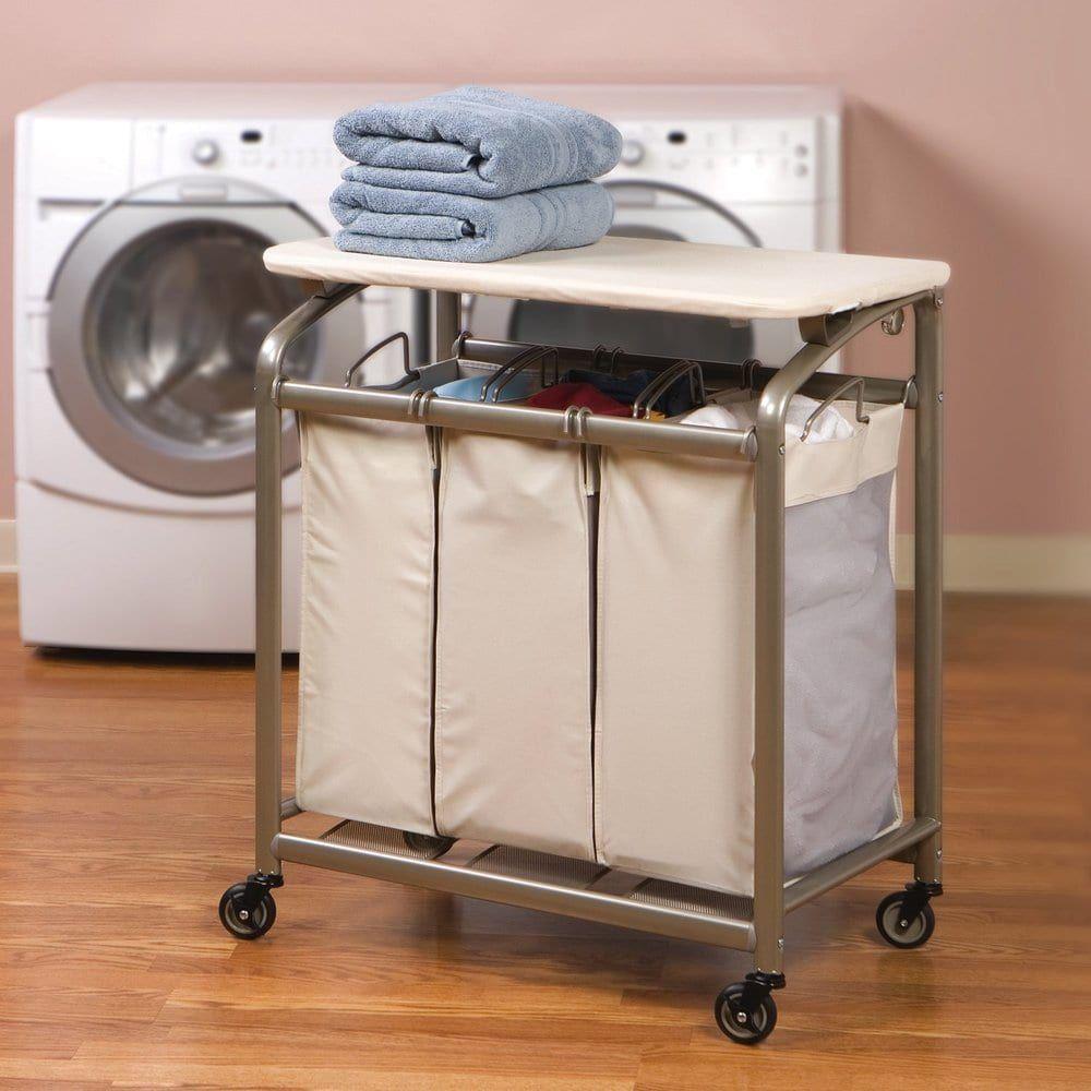 - Seville Classics Mobile 3-Bag Laundry Hamper Sorter Cart With