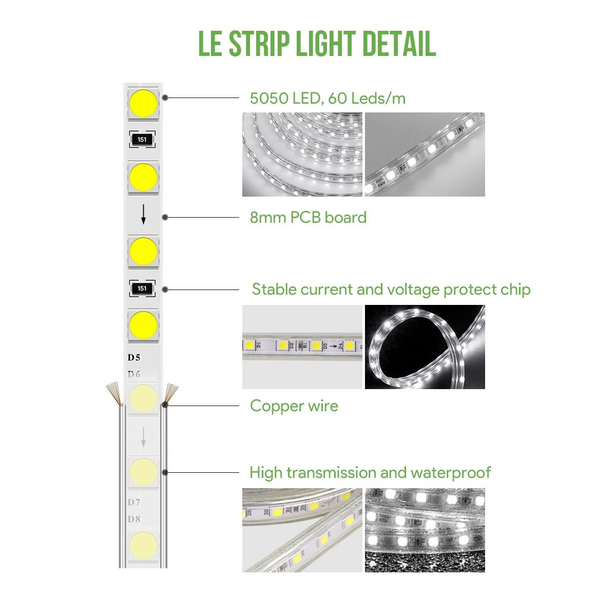 Le 82ft Led Strip Lights 120 Volt 189w 1500 Smd 5050 Leds Waterproof Daylight White Etl Listed Flexible Indoor Outdoor Led Rope Lights Strip Lighting Led Curtain Lights