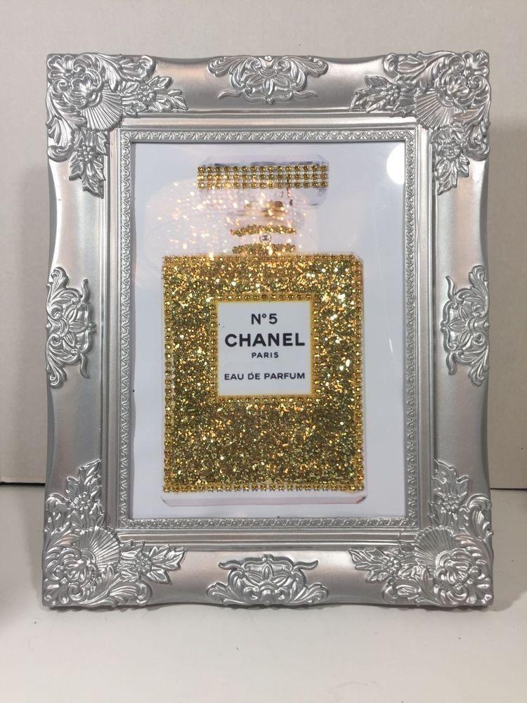 Framed Chanel No 5 Perfume Bottle Bling Gold Glitter Print Pop Art