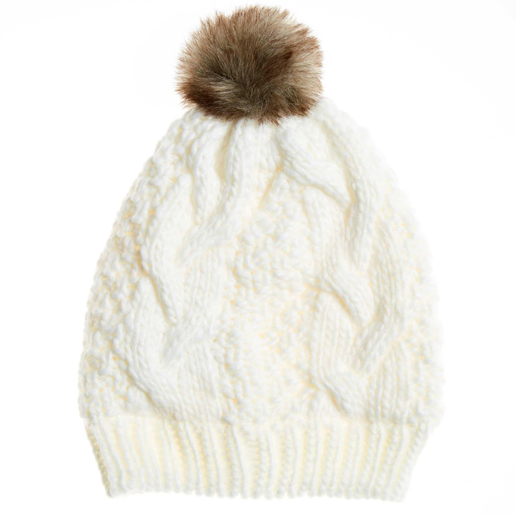 cb081fea67f2a Gorro con forro de tejido polar y pompón blanco nieve Mujer