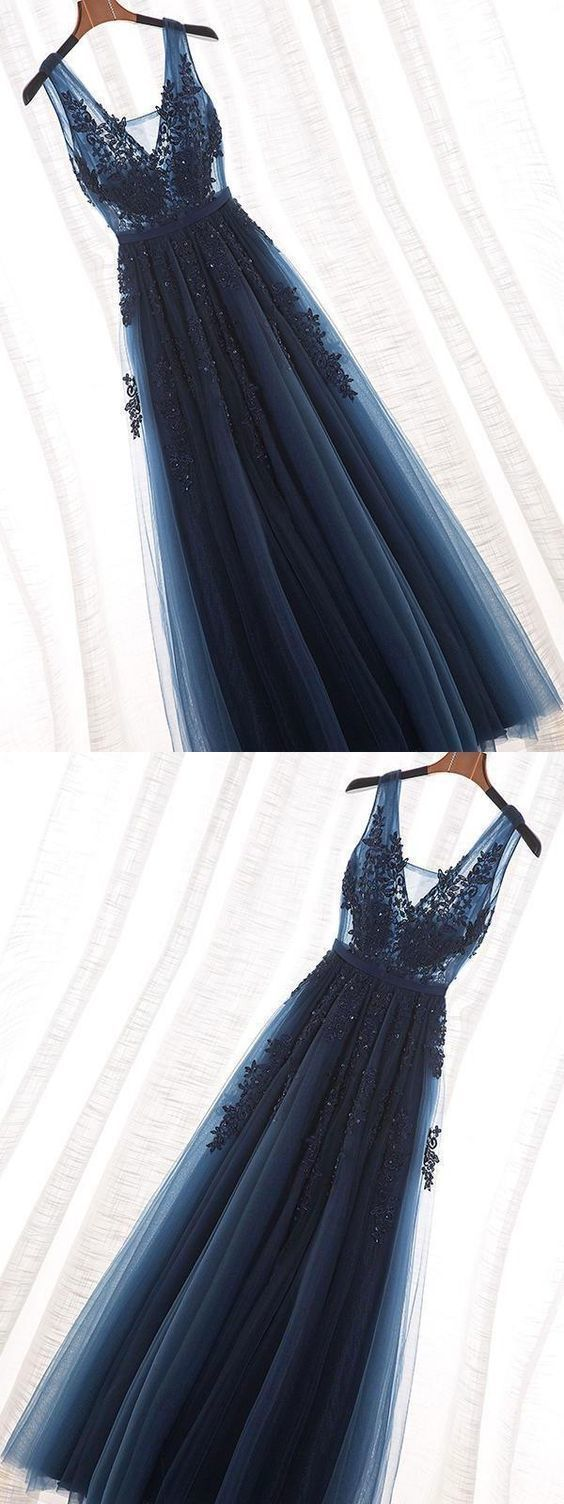 Langes Abendkleid, Dunkelblaues Abendkleid, Spitzen-Abendkleid CR