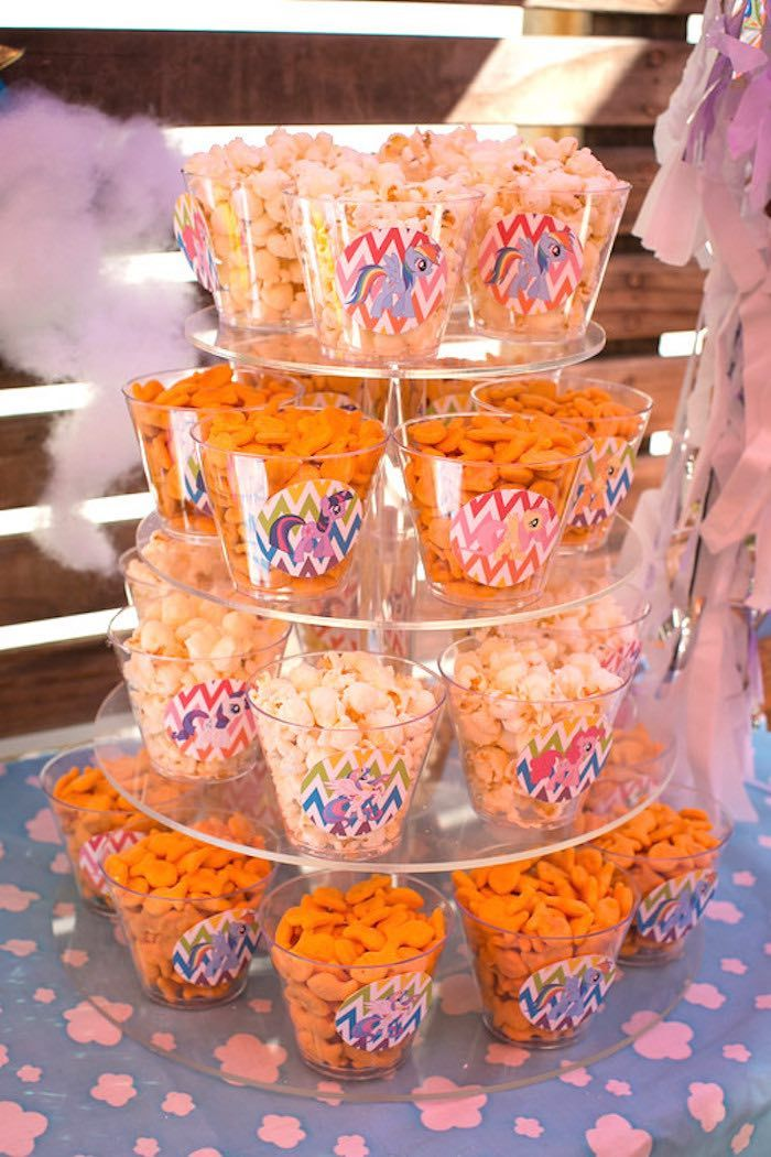 Popcorn Goldfish Snack Cups from a My Little Pony Birthday Party