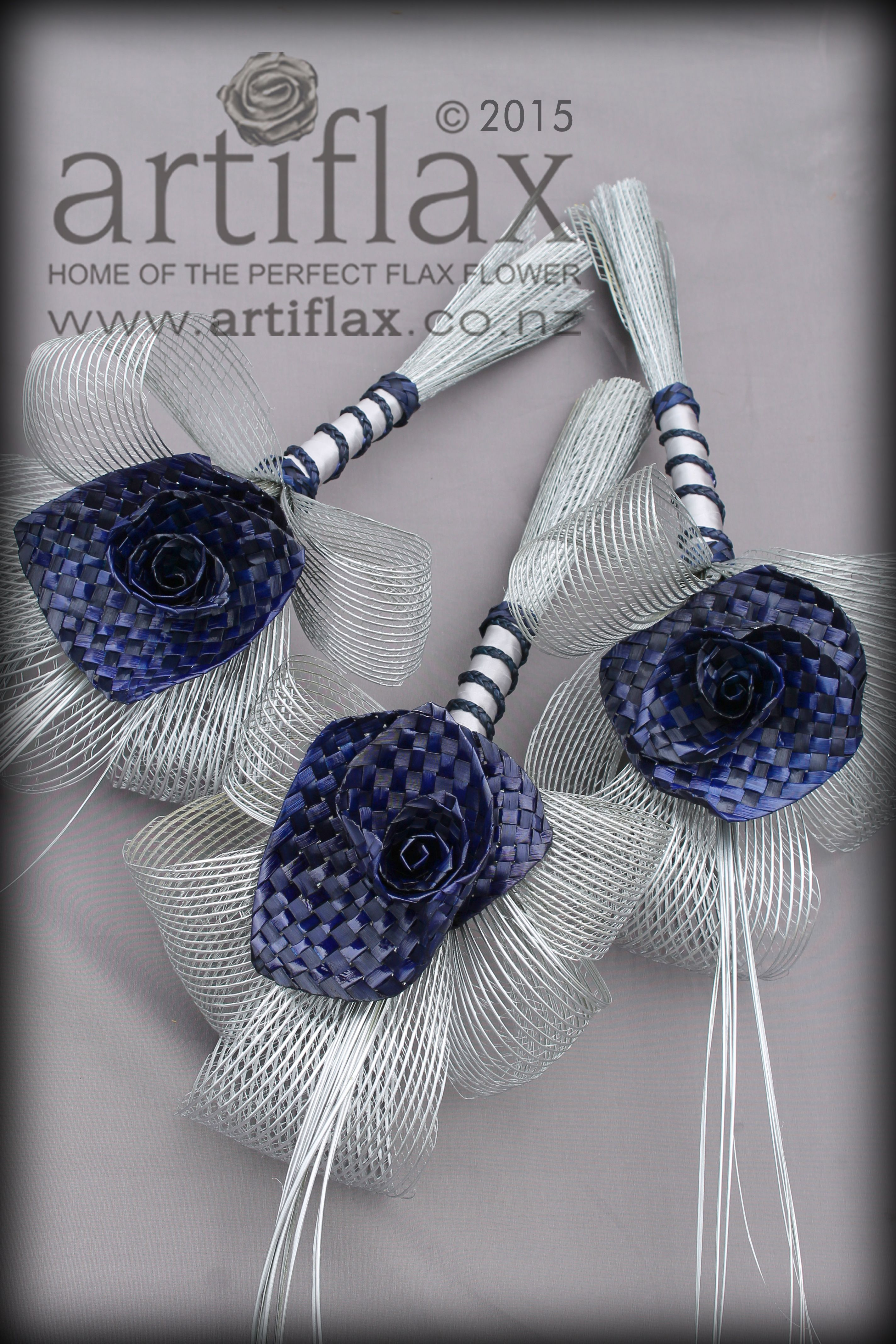Navy woven flax flowers with authentic Hapene flax foliage. Flax ...