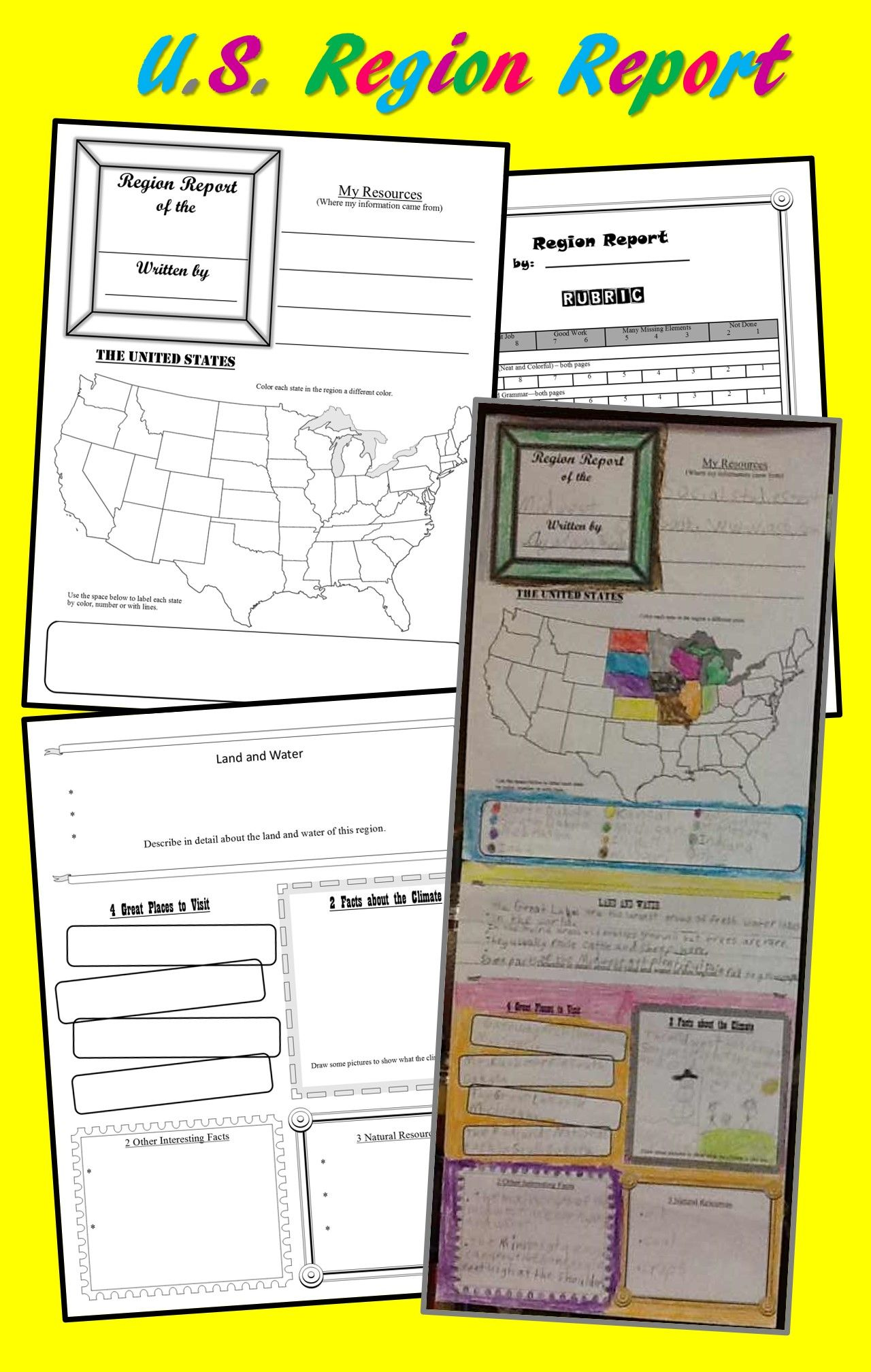 hight resolution of U.S. Region Report (Poster) Template for Intermediate Grades   Homeschool social  studies