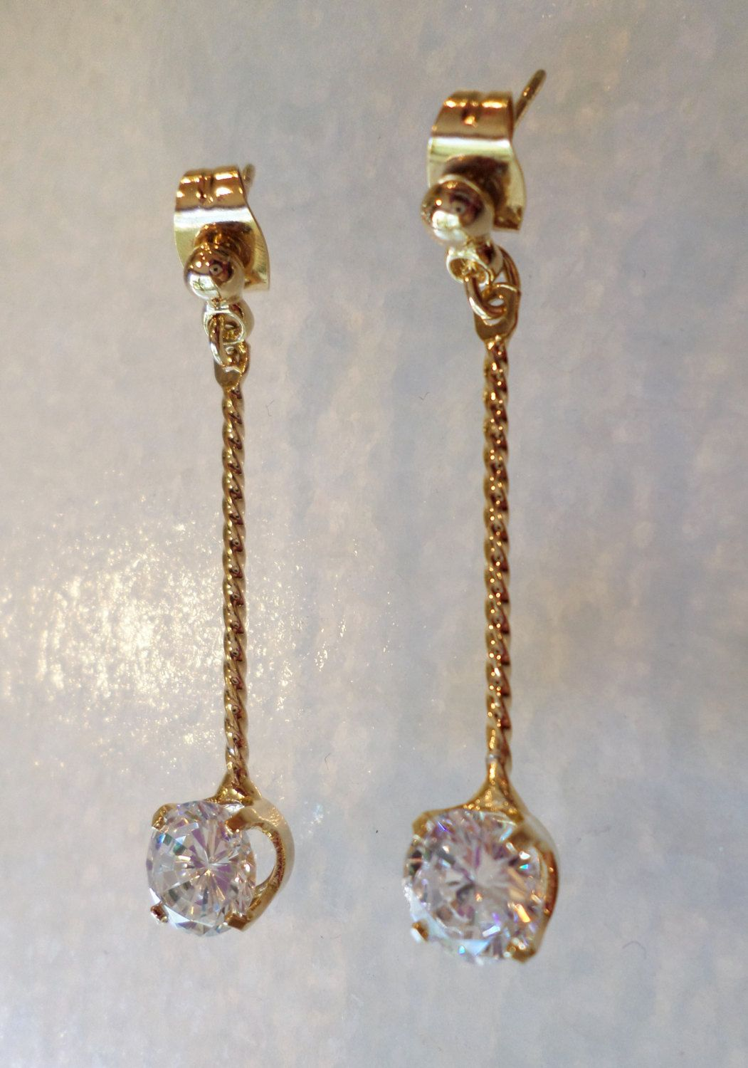 Vintage Gold Tone Clear Faceted Circle Stone Dangle Earrings. by Bestintreasures…
