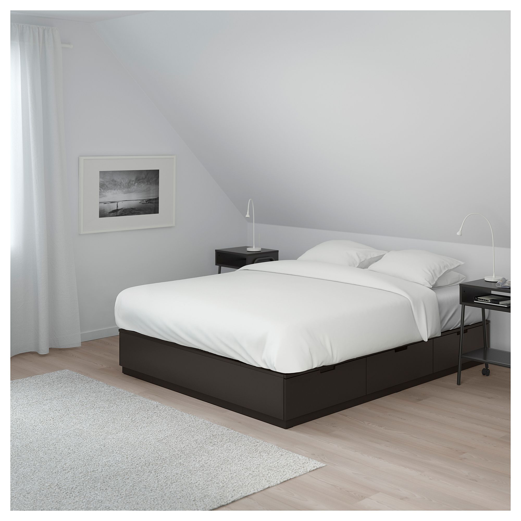 NORDLI Bed frame with storage anthracite Queen (160x200