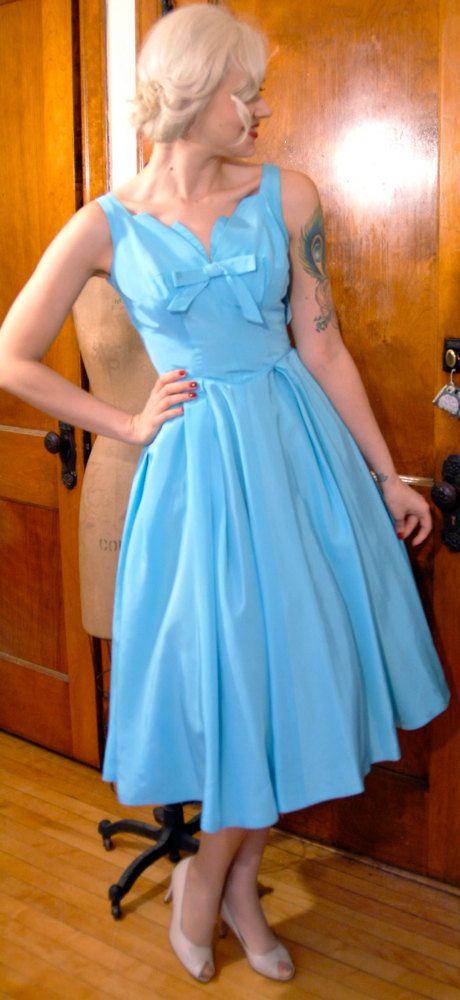 1950s Vintage Dress // Cinderella's Cerulean Party Dress ...