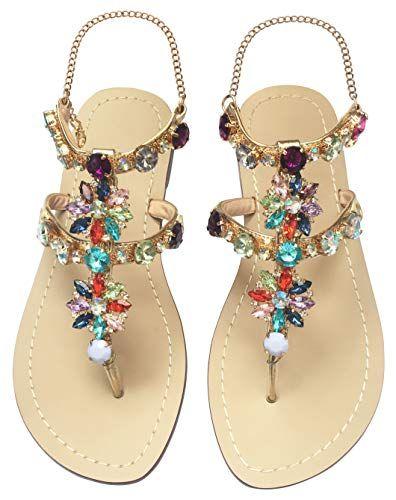 Summer Flip Flops Women Flat Sandals Crystal Gladiator Sandals Slim Beach Party Shoes Chains Floral
