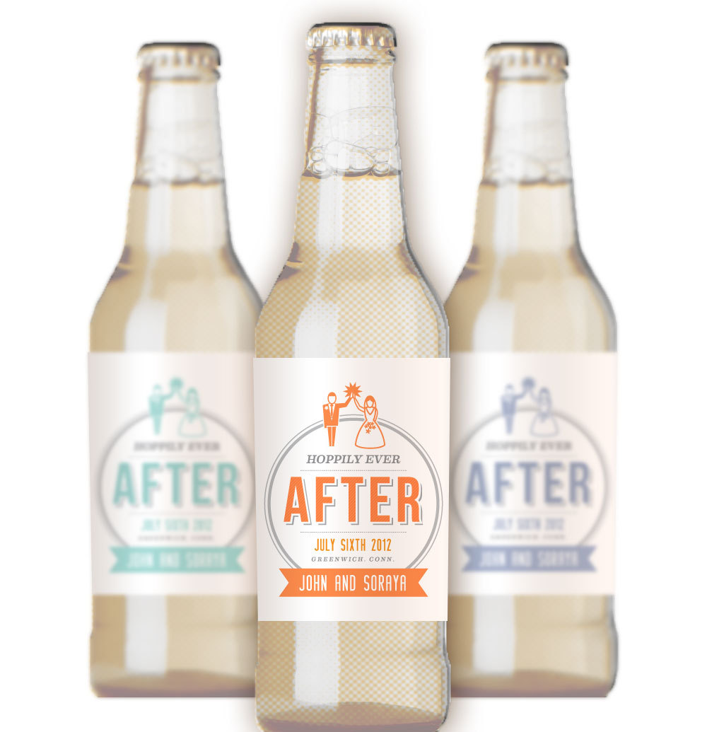50 beer bottle labels for wedding favors in your colors, free ...