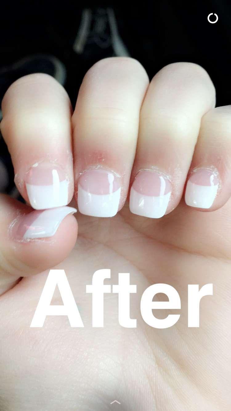 Acrylic nails with gel polish on short bitten nails.   NAILS   Pinterest