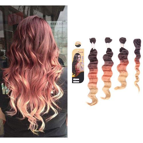 4 Bundles Ombre Dye Natural Black To Rose Gold Full Head Weft Hair