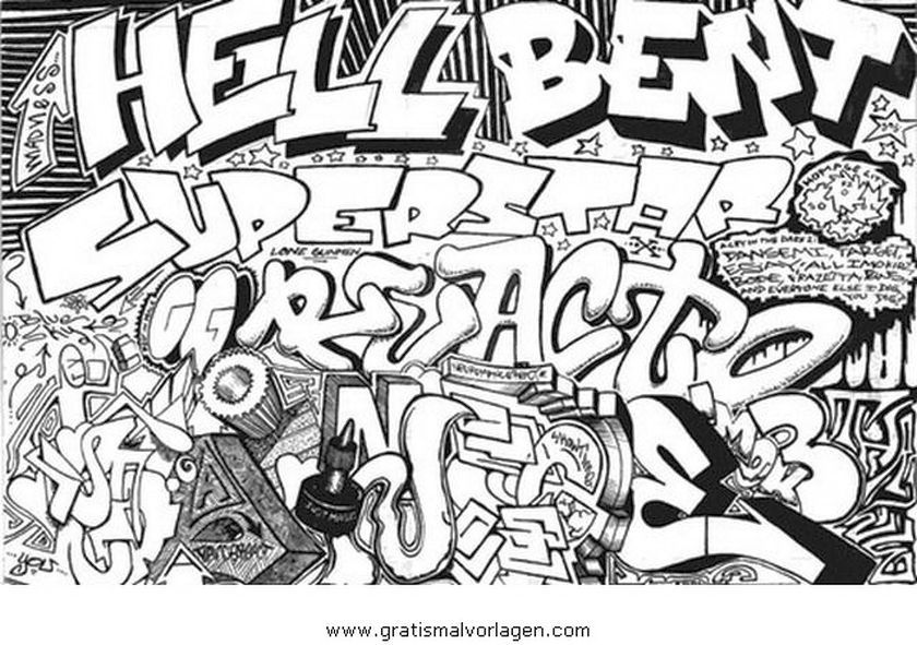 Online free coloring picture of graffiti to print out | Abstract ...