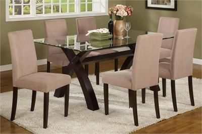 "Eris"" Contemporary Rectangular Glass Top Table & Chairs"