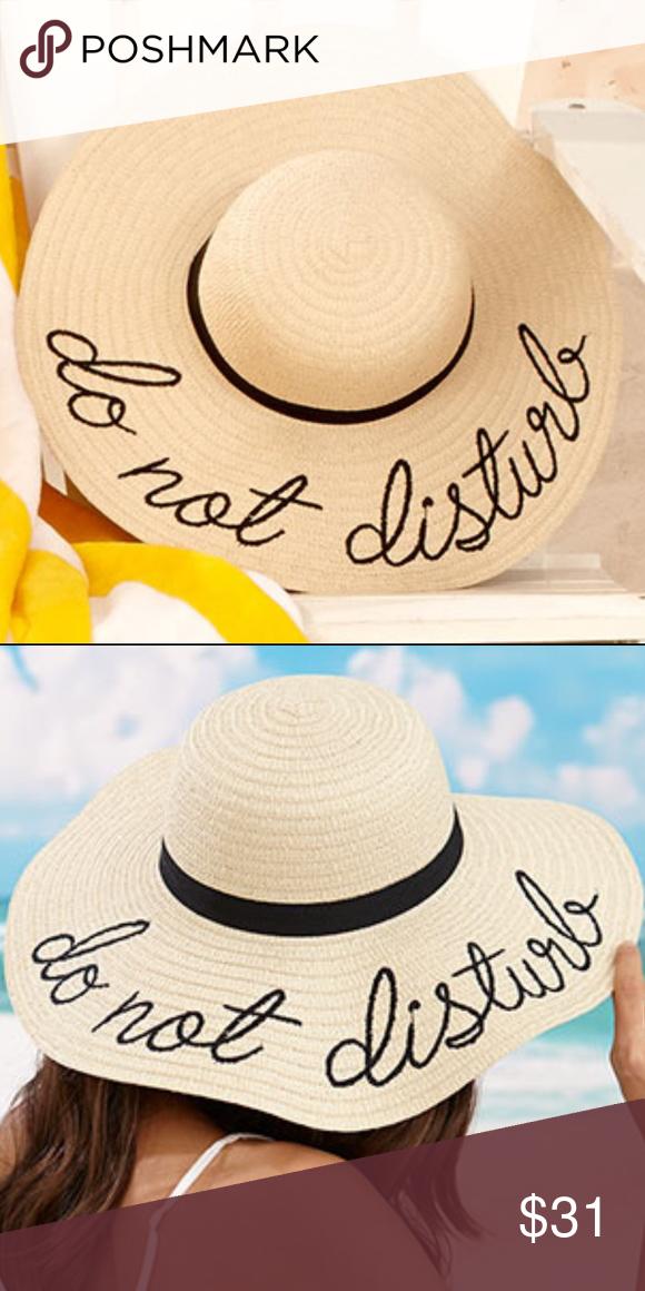 946a234075d Do Not Disturb Sentiment Floppy Wide Brim Sun Hat This Embroidered  Sentiment Floppy Sun Hat is
