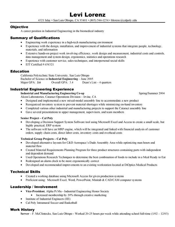 Resume Examples For Electronics Engineering Students -    www - manufacturing resumes
