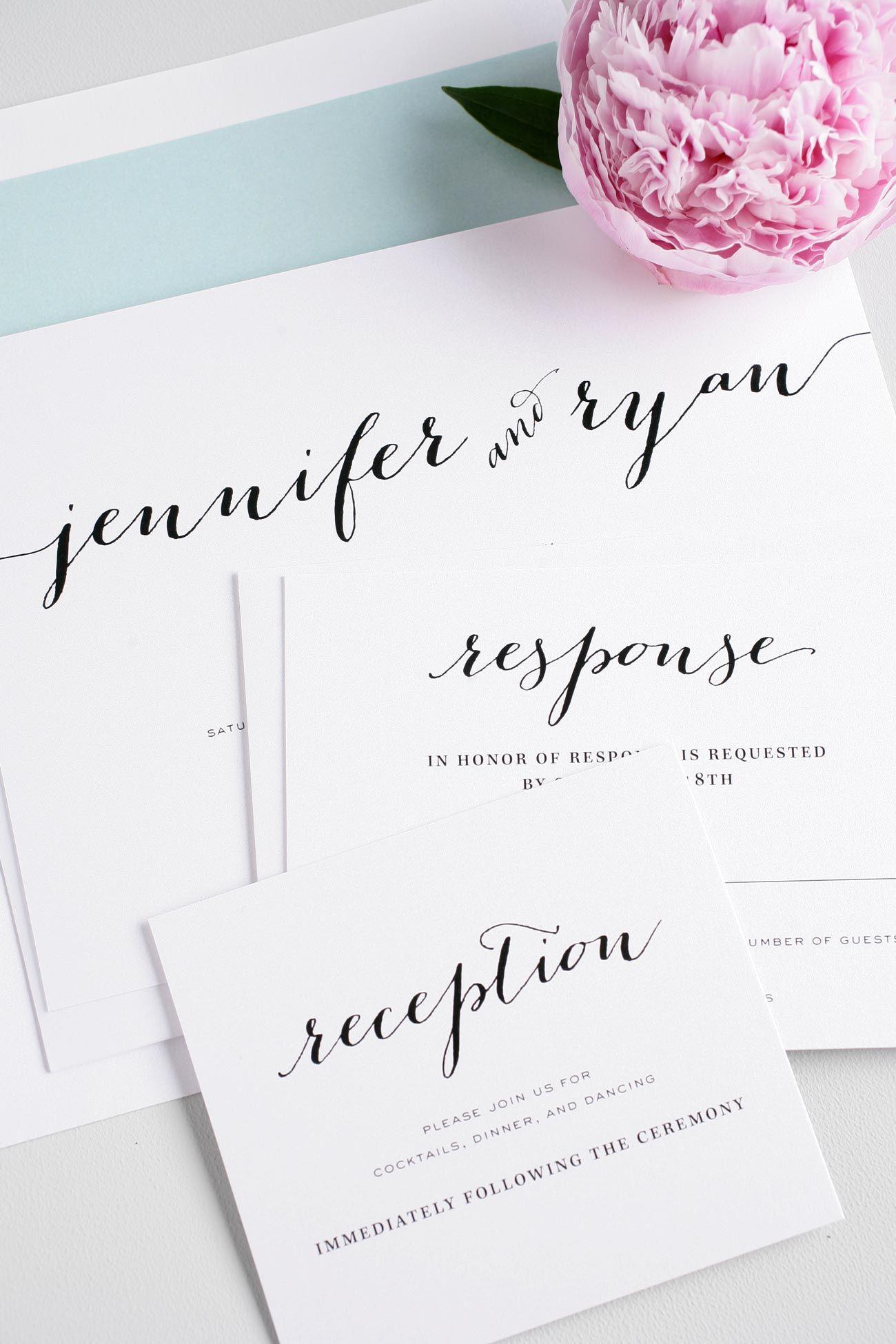 Romantic script wedding invitations with mint accents
