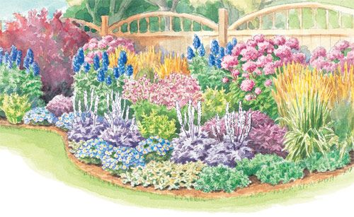 This three season border garden plan features shrubs for Flower garden designs and layouts