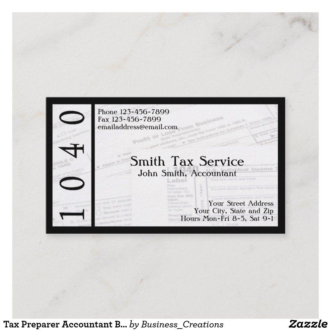 Tax Preparer Accountant Business Card Zazzle Com Tax Preparation Custom Business Cards Accounting