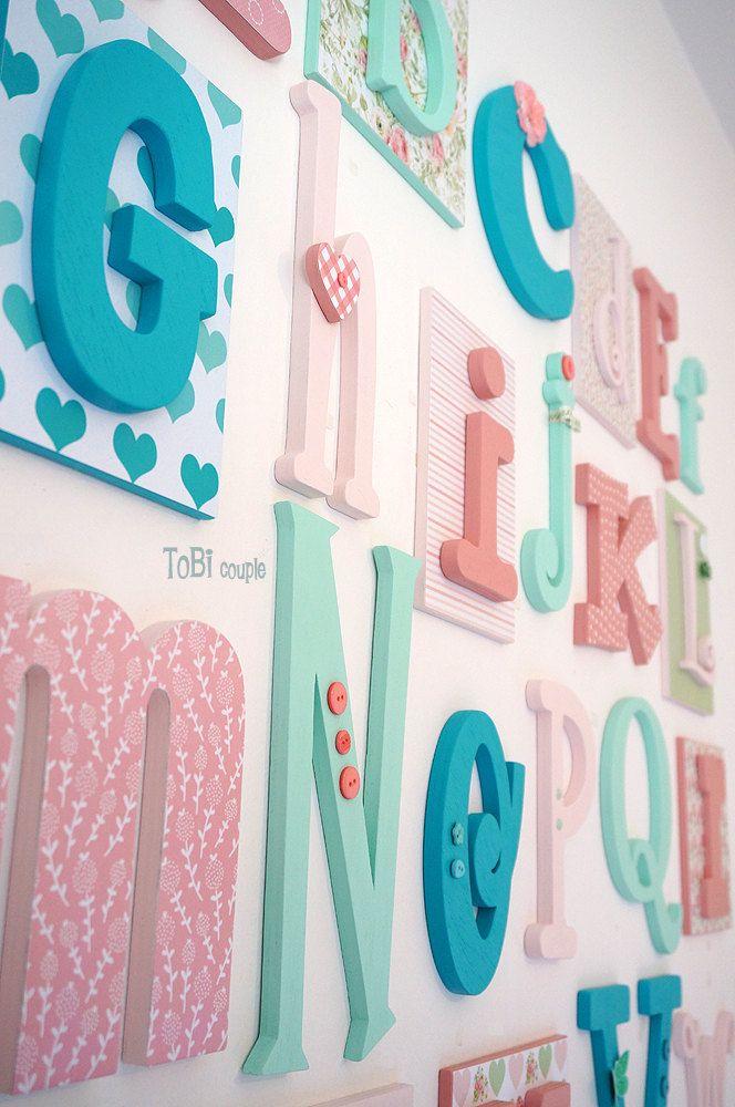 Hölzerne Alphabet Buchstaben Set 5 10 Kinderzimmer von ToBicouple