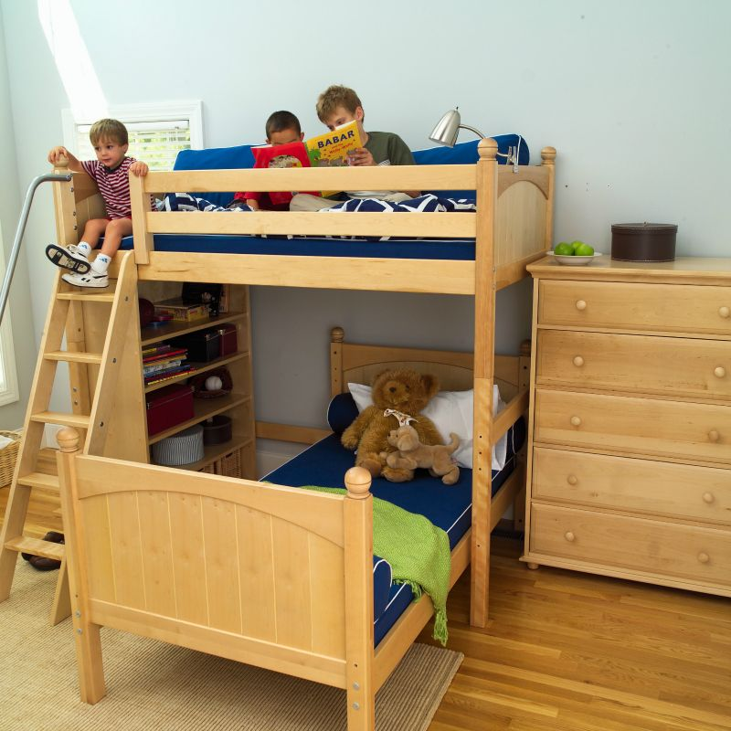 Boys Natural Bunks L Shaped Bunk Beds With Angled Ladder And Storage Bookcase Dresser Perfect For Sleeping 2 In A Shared Bedroom Twin Over