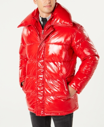 44842f738 I.n.c. Men's Glossy Oversized Puffer Coat, Created for Macy's - Red ...