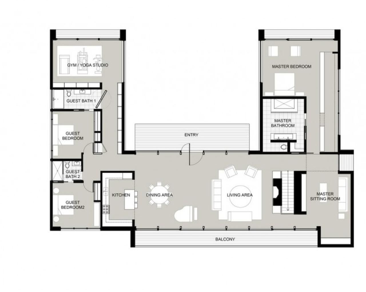 U shaped house plans with courtyard more