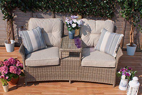 Casamore Corfu 2 Seat Rattan Companion Love Bench for Gardens and