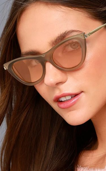 8746c61654ec Le Specs Enchantress Matte Grey and Orange Mirrored Cat-Eye Sunglasses