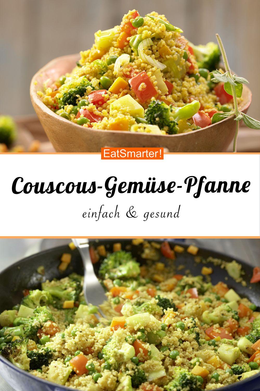 Einfach, schnell, gesund: Couscous-Gemüse-Pfanne mit Harissa. Passt als Abendessen, Mittagessen, zum Mitnehmen in der Lunchbox und fürs Buffet. smarter - Kalorien: 354 kcal - Zeit: 30 Min. | eatsmarter.de #couscous #vegetarisch #abendessen