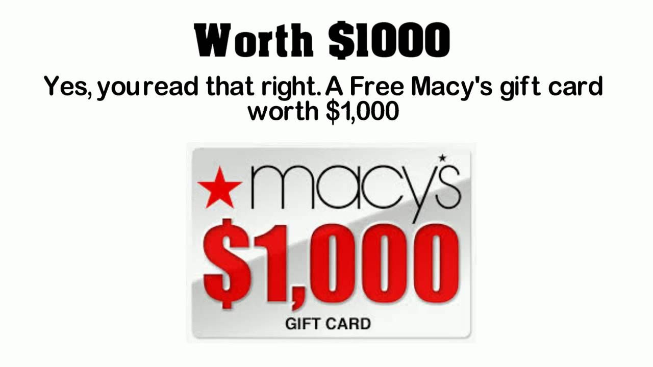 Free Gift Card How to get a Free Macy\'s Gift Card | Big Money Idea ...