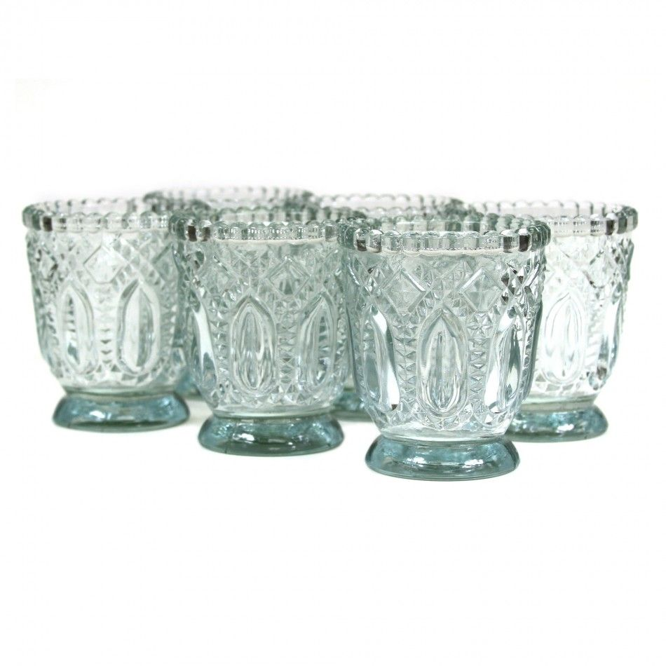 3 Vintage Glass Candle Holder 6 Pack 424471 Wholesale Wedding Supplies