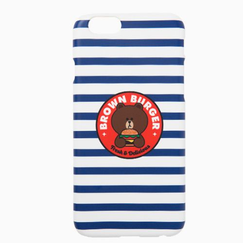 Line Friends Blue Stripe Brown iPhone 6/6s Plus PC Apple Hard Case Skin Cover #NaverLineFriends