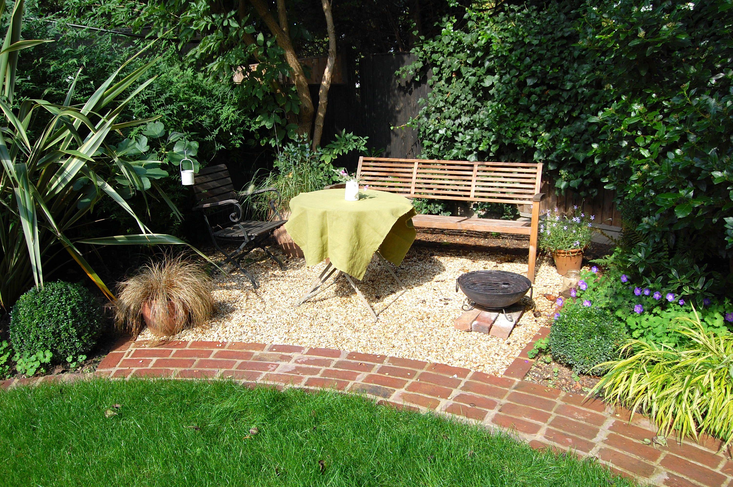 brick path in west london garden design sally fee garden design