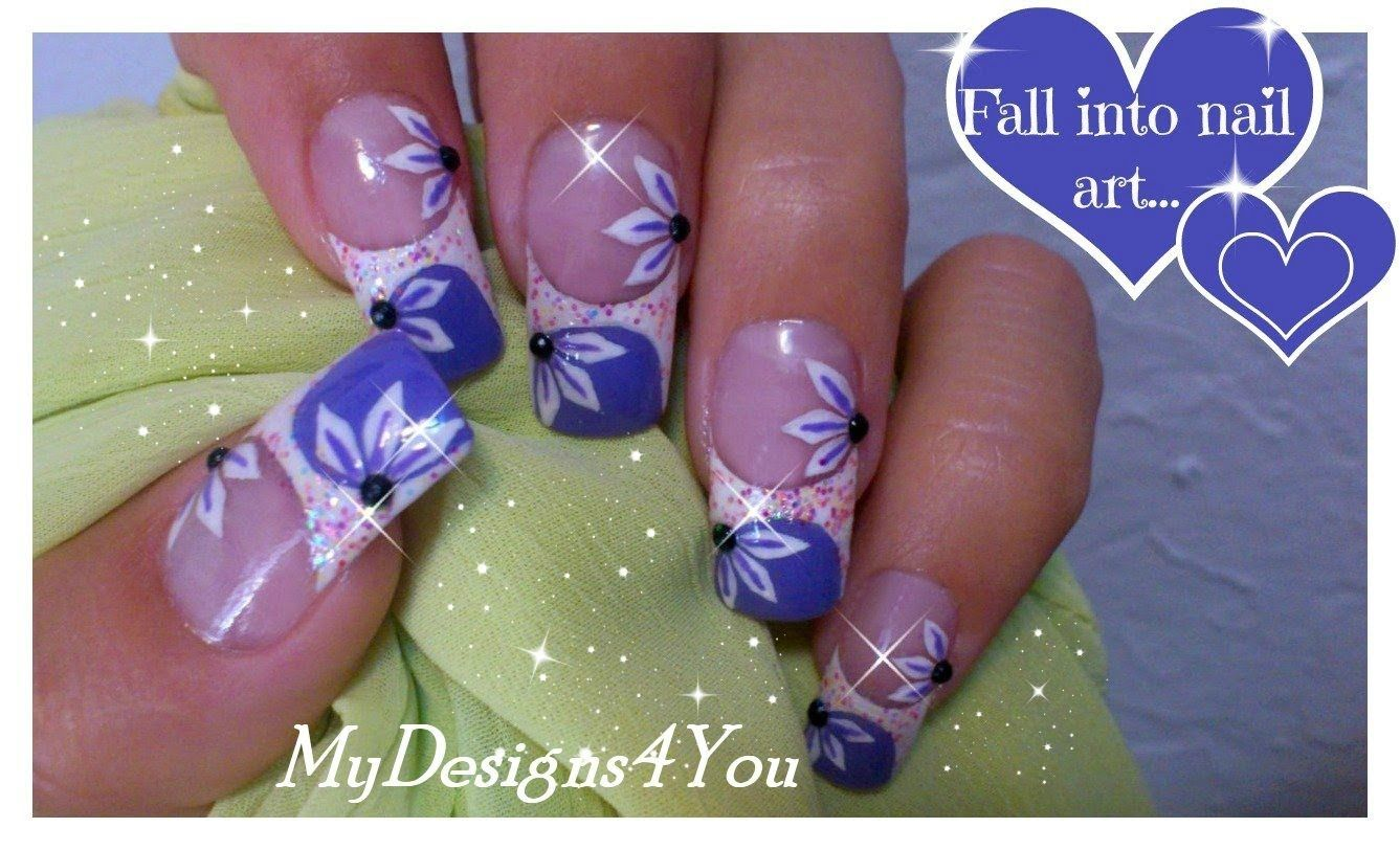 Floral Nail Art Tutorial Purple French Tip Nails Long Summer