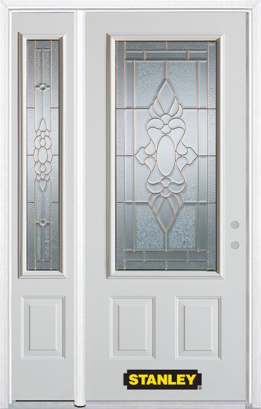 52 75 Inch X 82 375 Inch Victoria Brass 3 4 Lite 2 Panel Prefinished White Left Hand Inswing Steel Prehung Front Door With Sidelite And Brickmould Energy Star Front Door Stanley Doors Entry Doors