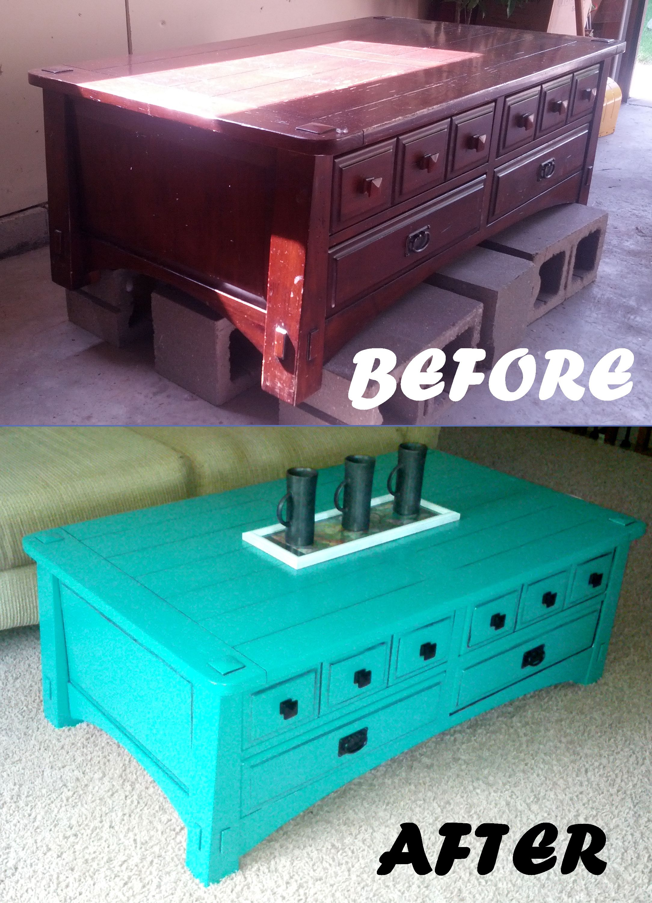 bright turquoise painted coffee table with black detailing