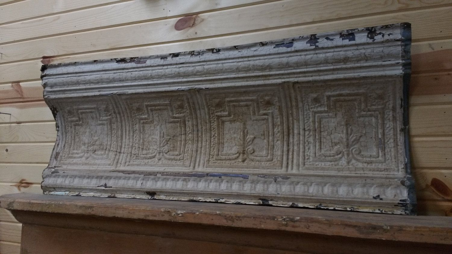 Architectural Salvage Pressed Tin Antique Tin Ceiling Crown Molding Pressed Tin Panel Headboard Man With Images Architectural Salvage Ceiling Crown Molding Tin Ceiling