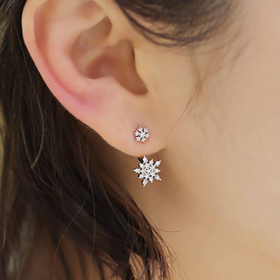 Fashion Crystal Rhinestone Leaf Plume Fleur Oreille Veste Clous D/'oreilles Bijoux