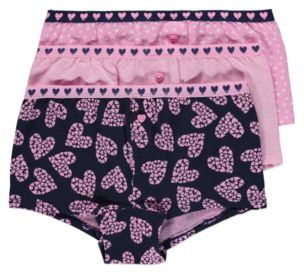 George 3 Pack Heart Boy Shorts - Pink