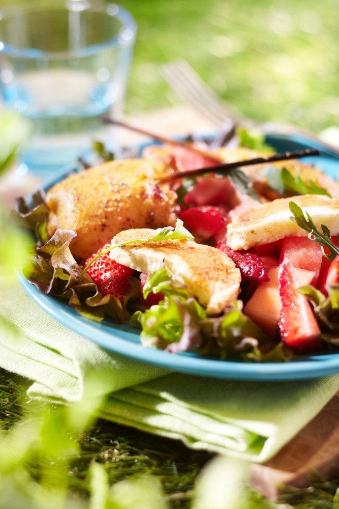 Meloni-halloumi-mansikkasalaatti | K-ruoka